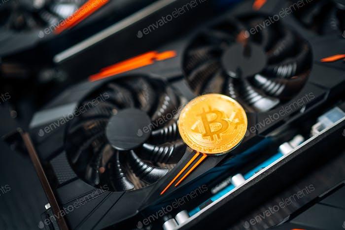 Kryptowährung Mining Rig mit Grafikkarten für digitale Kryptowährung