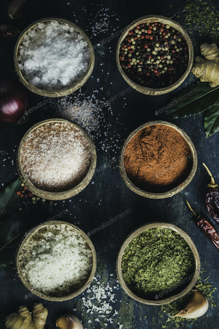 Set of spices on rustic blue background