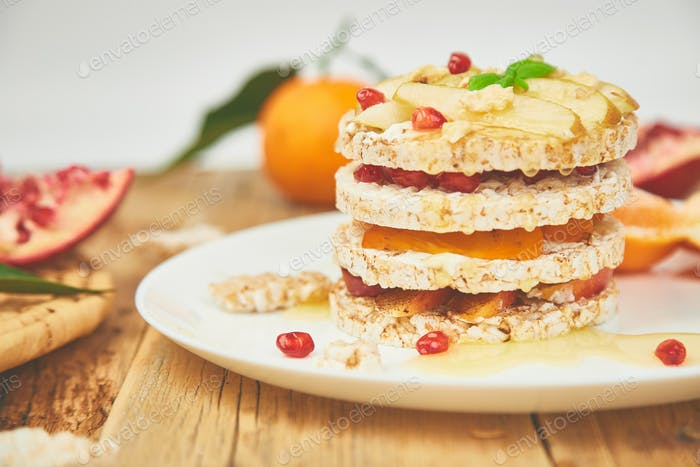 Vegan, diet, organic natural birthday cake with rice crisp
