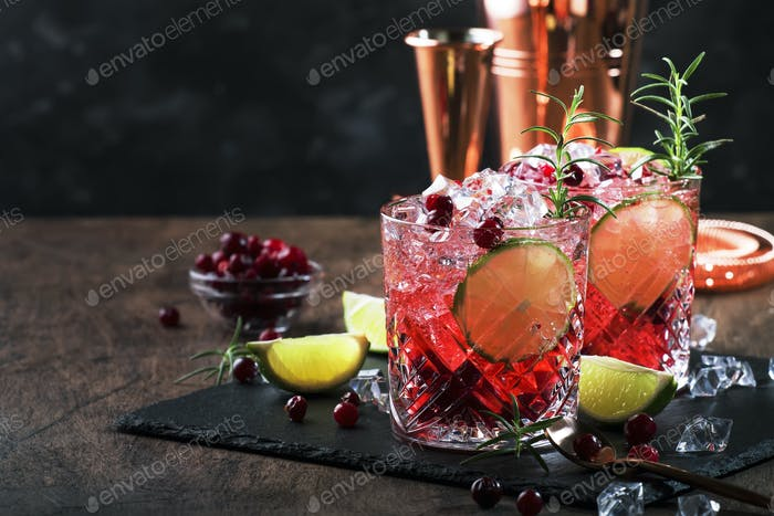 Glasses of cranberry drink