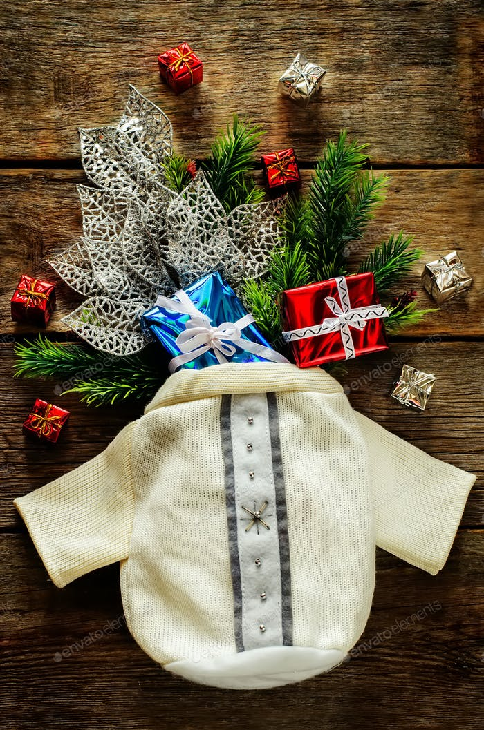 Christmas background with bag, gifts and Christmas tree