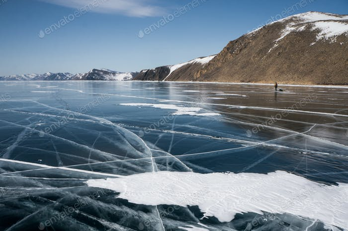 Scenic Landscape With Frozen Sea and Mountains, Russia, Lake Baikal