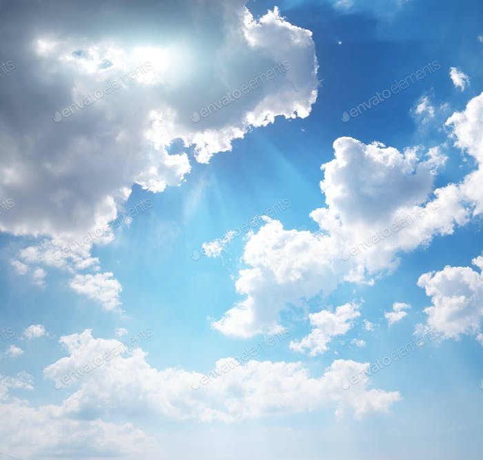 Deep blue sky and summer sun