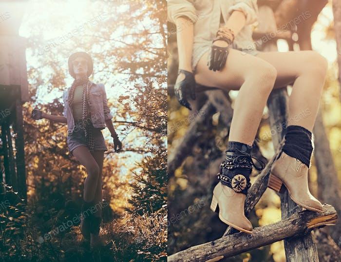 Mode Porträt Brünette Mädchen im Herbst Wald. Landstall