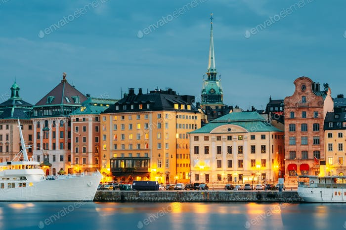 Embankment In Stockholm At Summer Day, Sweden