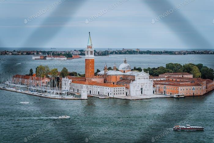 Chiesa di San Giorgio Maggiore or San Giorgio Maggiore island from St. Marks Campanile bell tower of