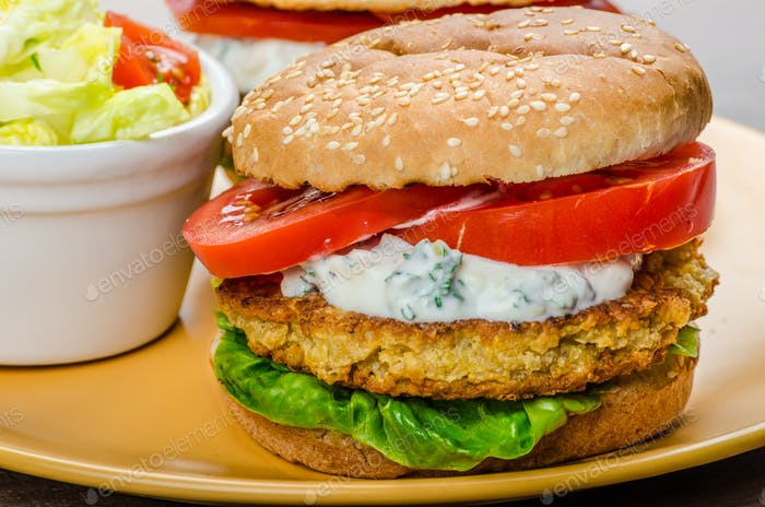 Vegetarian chickpea burger