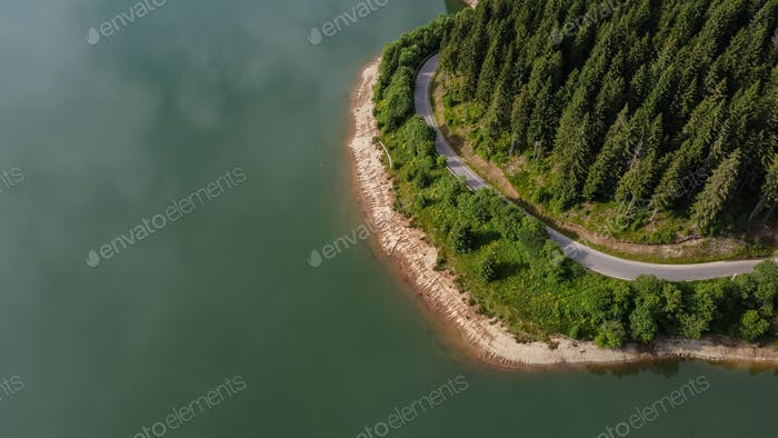 Lake and Forest Aerial View