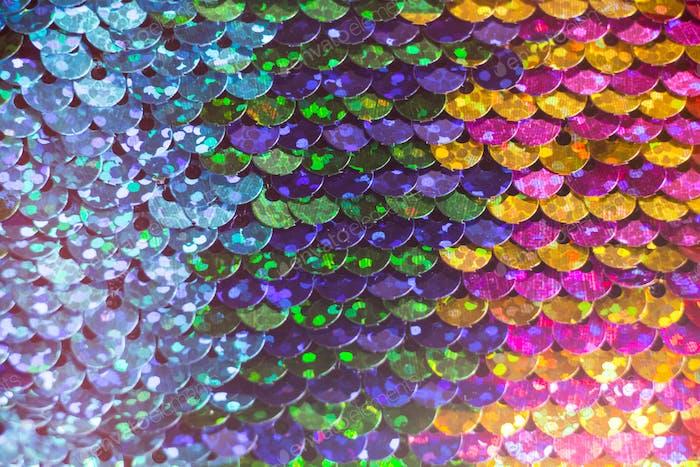 Glänzende bunte Pailletten Kleid Detail Textur