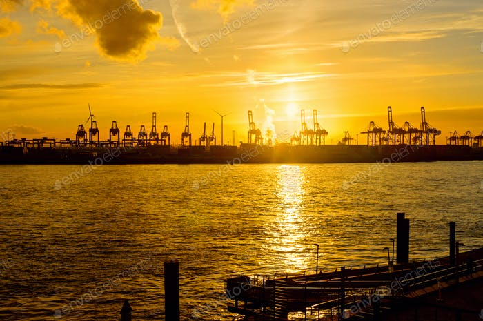 Sunset at the harbour of Hamburg