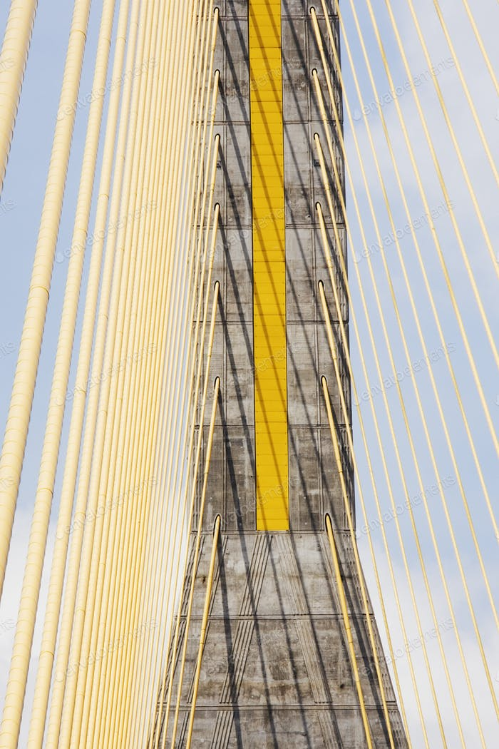 51062,Cables and Tower of Cable Stay Bridge
