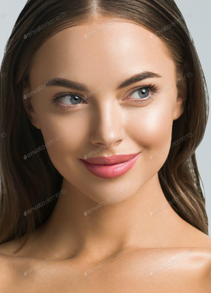 Young spa model face close up natural make up