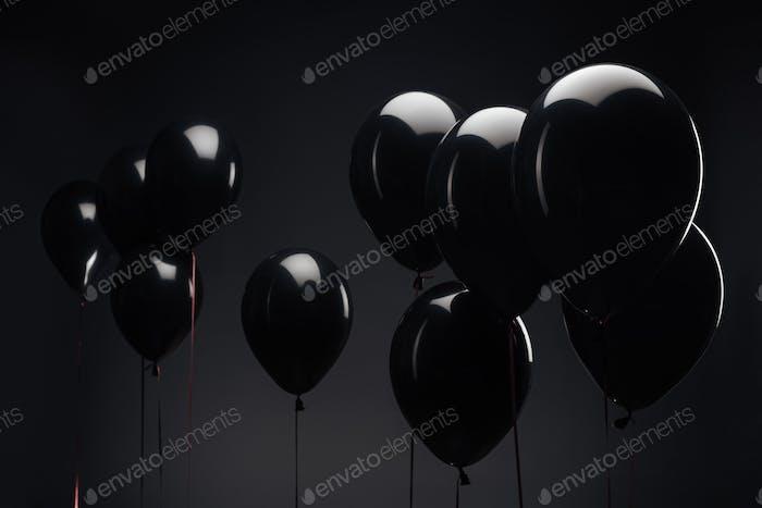 Hintergrund mit festlichen Luftballons für den schwarzen Freitag