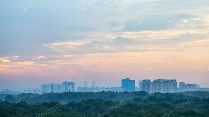 sunrise sky over Timiryazevskiy park in Moscow