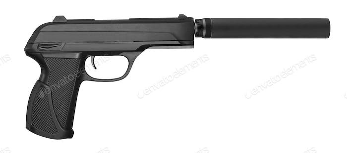 special operation handgun with silencer on white background