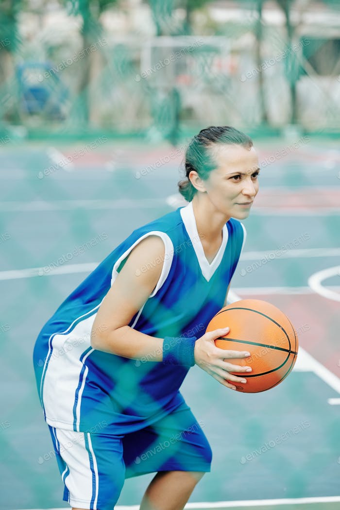 Basketball player concentrated on game