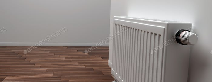 Radiator with thermostat, wood floor, grey wall background. 3d illustration