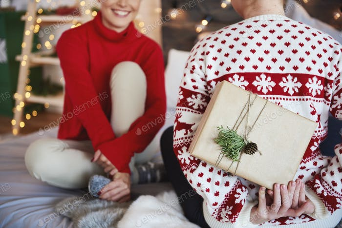 Rear view of woman giving christmas present her friend