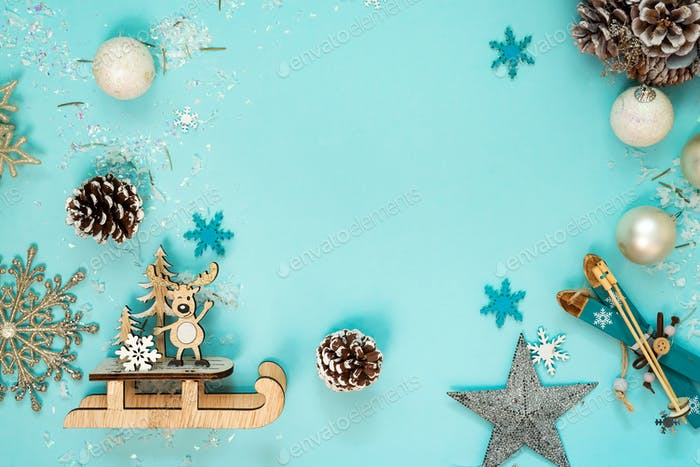 Christmas and New Year holidays background with balls and toys , winter season. Christmas greeting