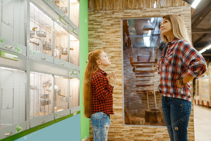 Daughter persuades mother to buy a bird, pet store