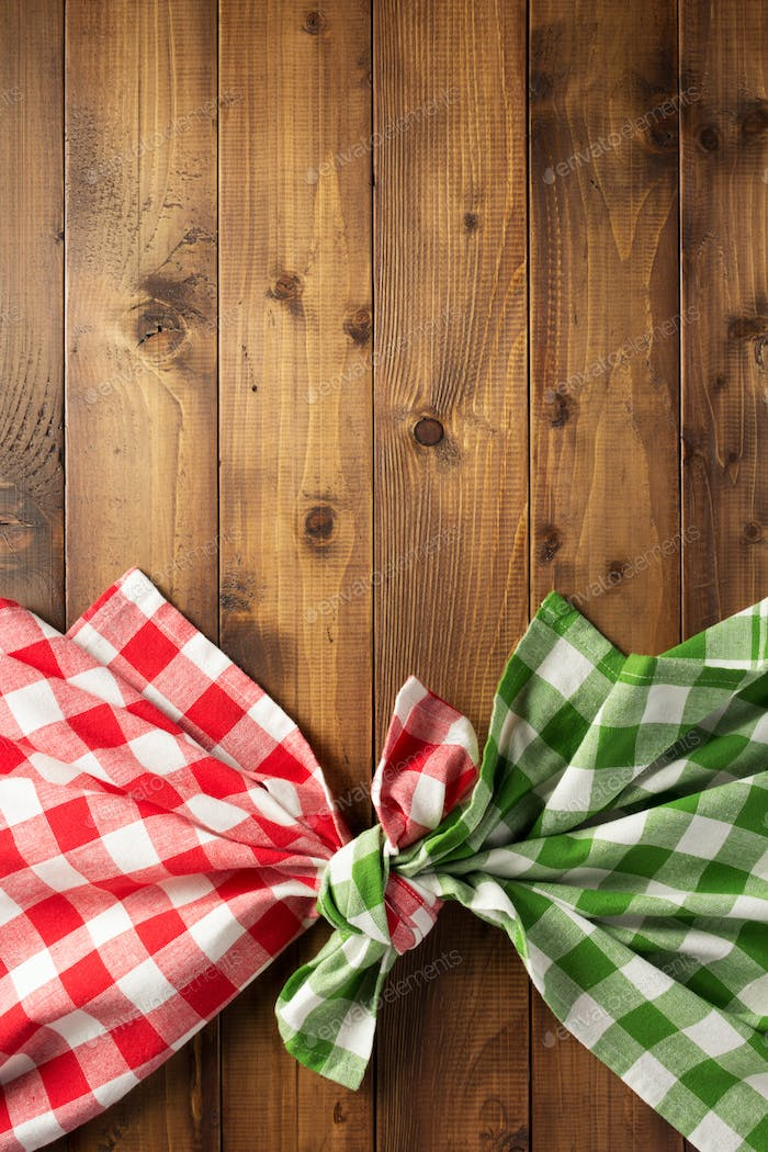 checked tablecloth at wooden table