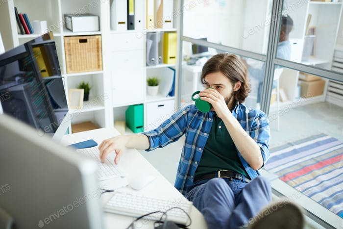 Software engineer working in office