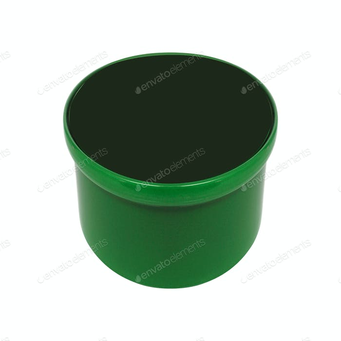 Green plastic flower pot