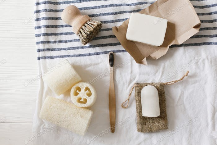 Natural plastic free luffa, bamboo toothbrush, brush, coconut soap and crystal deodorant