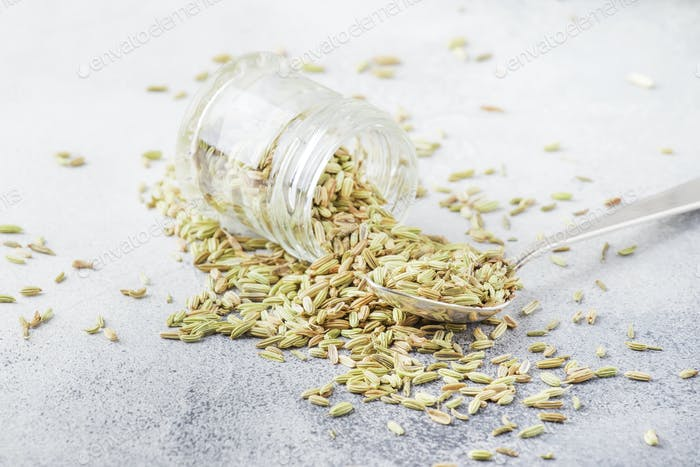 Fennel seeds in a glass jar