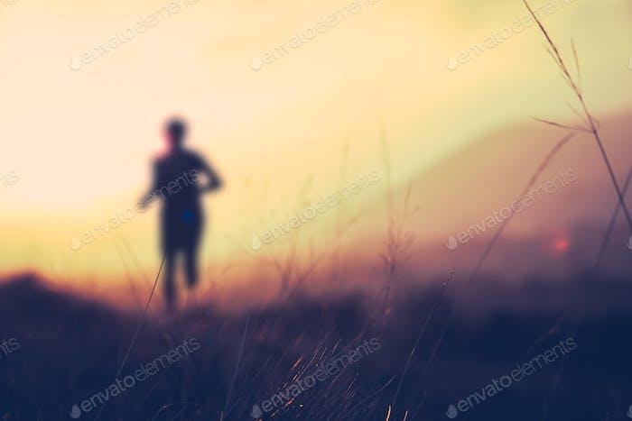 Hill Runner At Sunset