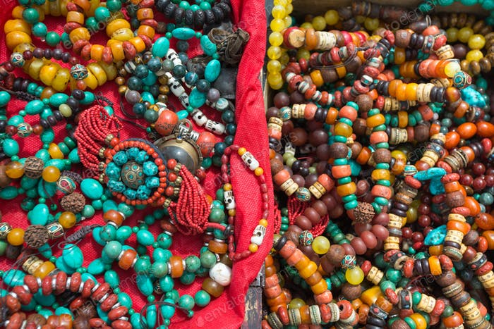Tibetan fashion accessories in a market in Tibet