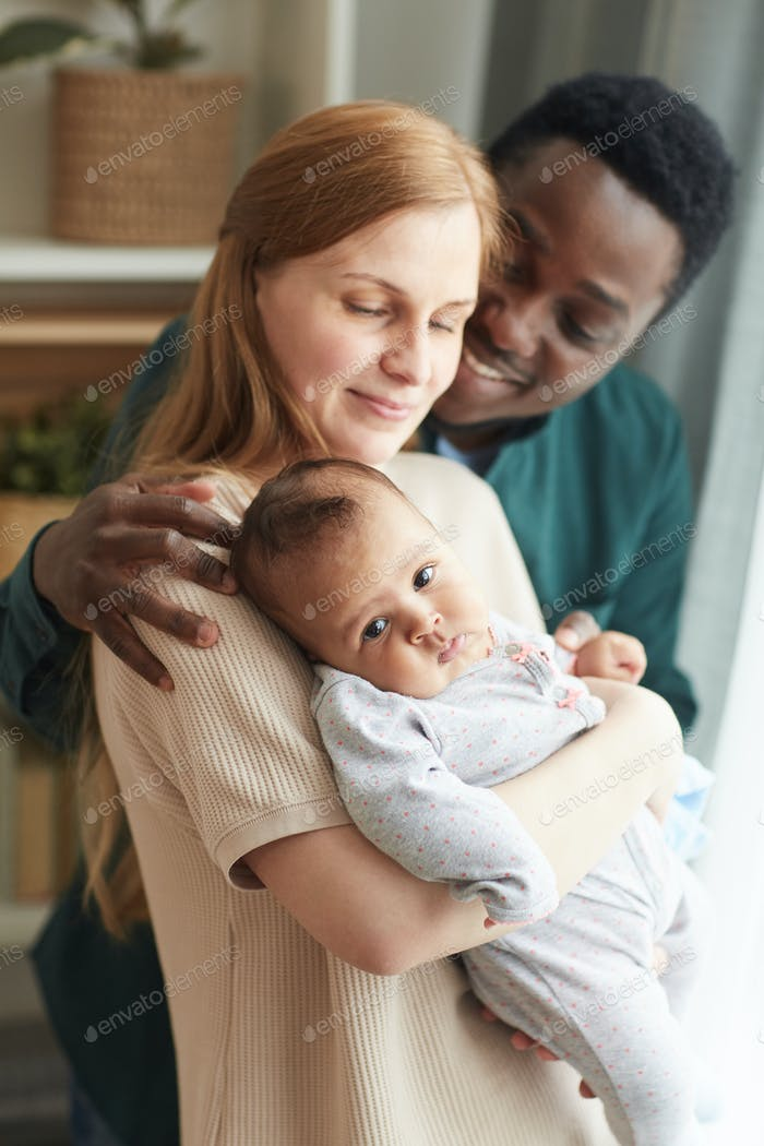 Happy Mixed-Race Family at Home