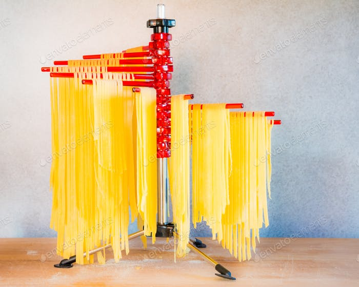 Drying Self-made Italian Pasta
