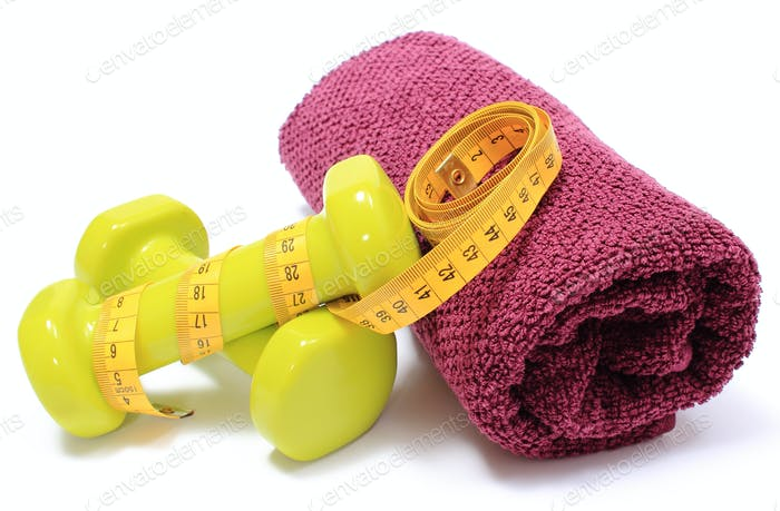 Dumbbells and towel for using in fitness and measure tape
