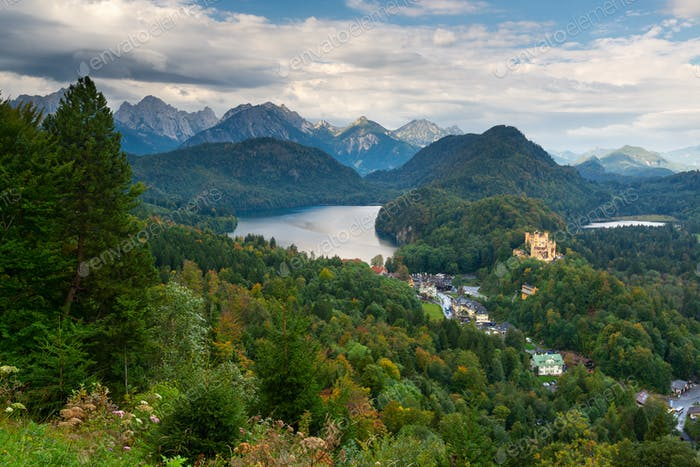 Bavarian Alps of Germany at Hohenschwangau Village and Lake Alpsee