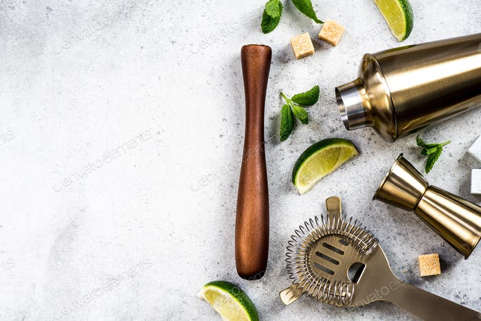 Ingredients for making drinks and cocktails