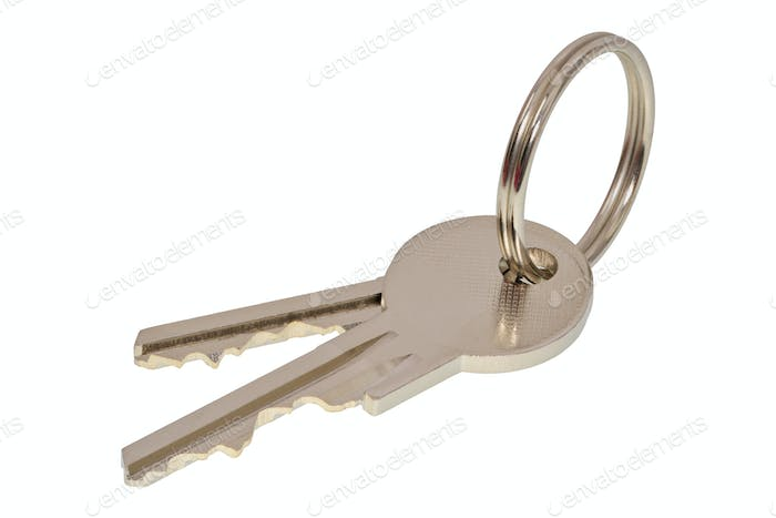 Metal keys on a white background