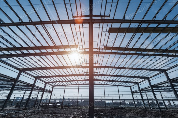 steel structure workshop closeup , steel frame factory buildings in construction