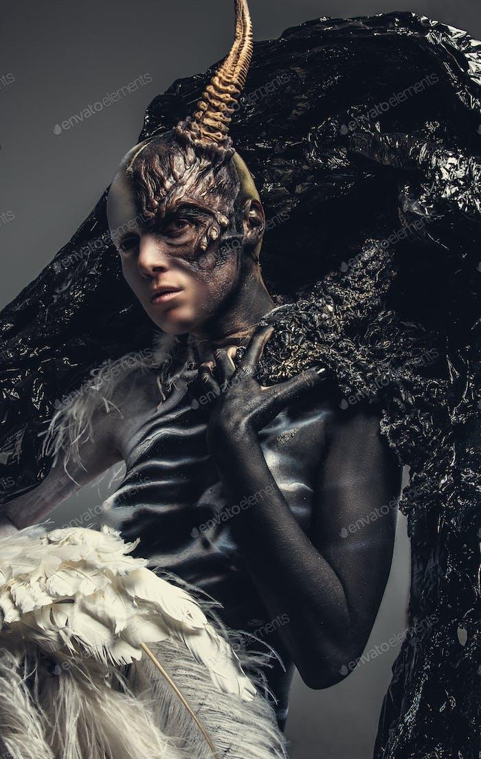 Portrait of devil woman.