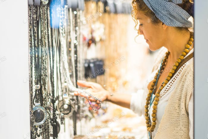 Trendy woman in accessories store