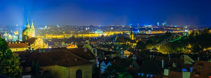 Night panoramic view of Prague, Czech Republic. Night view of St