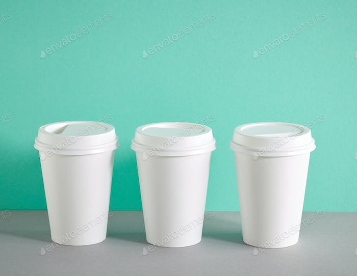 white paper coffee cups