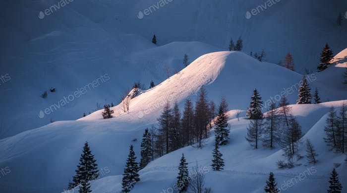 Winter fairytale landscape in the alps mountains