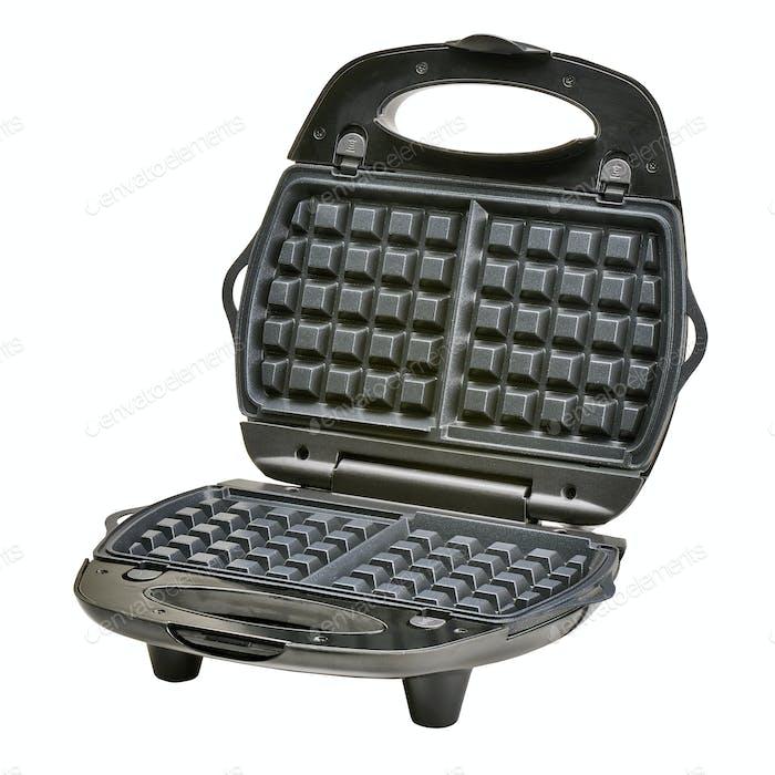 Open waffle iron maker isolated