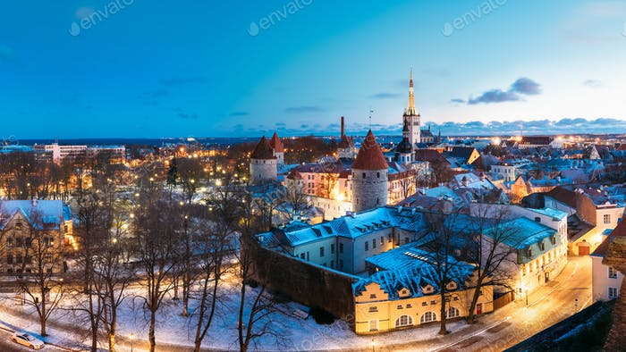 Tallinn, Estonia. Panorama Of Traditional Medieval Houses, Old N