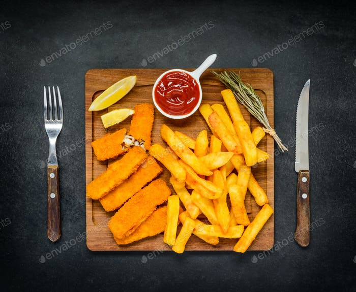 Junk Food with French Fries and Fish Fingers