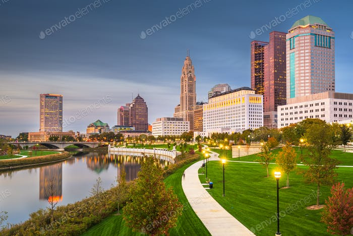 Columbus, Ohio, USA skyline on the river