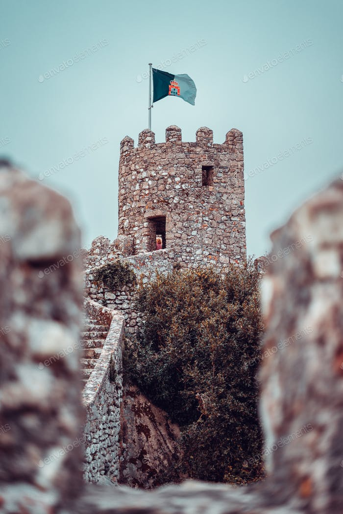 Tower of the medieval Moorish Castle in Sintra, Portugal