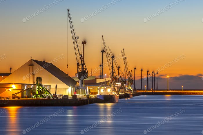 Small industrial harbor night scene