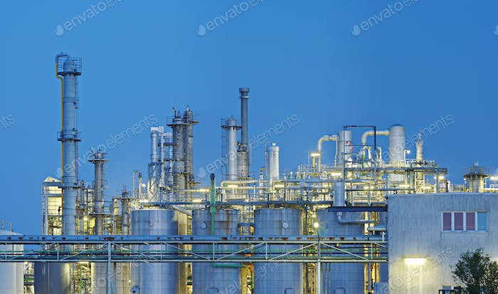 Chemical Plant And Blue Night Sky